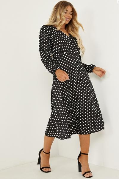 Petite Black Satin Polka Dot Midi Dress